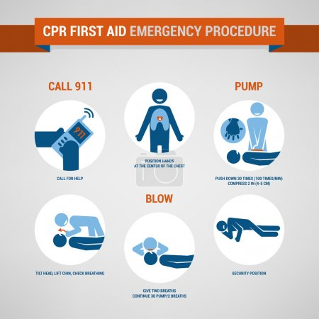 Illustration for Cpr first aid and training procedure, emergency and healthcare concept - Royalty Free Image