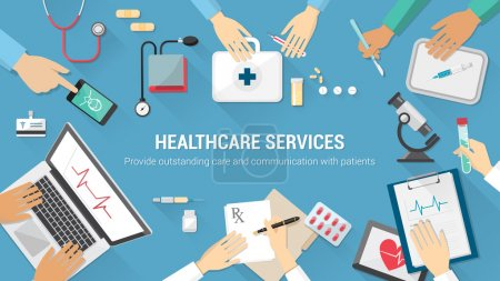 Illustration for Medical team desktop with doctors and medical equipment - Royalty Free Image