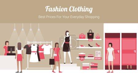 Illustration pour Bannière de magasin de vêtements de mode avec intérieur de magasin, vêtements sur cintres et étagères, vestiaires et clients achetant des produits - image libre de droit
