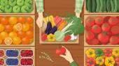 Farmer selling his freshly harvested vegetables