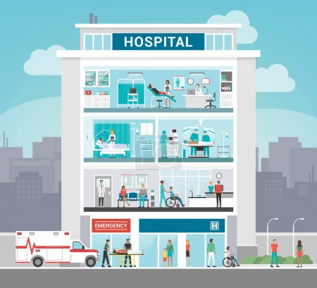 Illustration for Hospital building and department with doctors working, office, surgery, ward, outpatient and reception, healthcare concept - Royalty Free Image