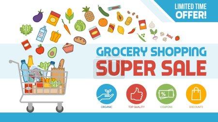 Illustration pour Épicerie rabais bannière d'achat avec panier rempli de nourriture et de produits, offres et concept de vente - image libre de droit
