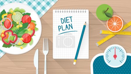 Illustration for Food, diet, healthy lifestyle and weight loss banner with a dish of salad, table set and scale - Royalty Free Image