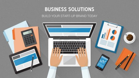 Illustration for Business, technology and freelancing concept, office desktop with laptop, tablet, files and businessman's hands typing, top view - Royalty Free Image