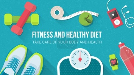 Illustration for Fitness, sport, diet and healthy lifestyle banner with copy space and training equipment - Royalty Free Image