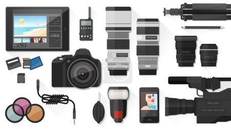 Illustration pour Bannière de production vidéo, photographie et post-production avec équipement professionnel, pose plate - image libre de droit