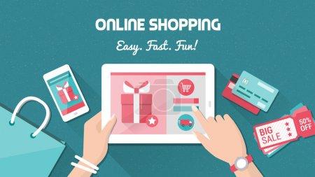 Photo pour Concept d'achat et de livraison en ligne, femme achetant des produits de mode sur un e-shop à l'aide d'une tablette tactile numérique, pose plate - image libre de droit