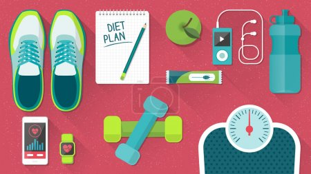 Illustration for Fitness and healthy lifestyle banner with sports equipment and healthy snacks, weight loss and wellness concept - Royalty Free Image