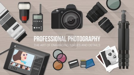 Illustration for Professional photographer equipment on a desk, photo editing and shooting concept, banner with copy space - Royalty Free Image