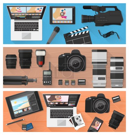 Illustration for Photograph, video making and photo editing banner set with professional equipment, laptops and camera, flat lay - Royalty Free Image