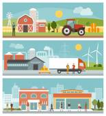 Agriculture industrial and commerce banners set