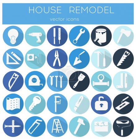 Illustration for Modern flat line tools icons set for home improvement - Royalty Free Image