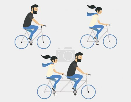 Illustration for Young couple riding bicycle set - Royalty Free Image