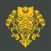 Dragon tattoo T-shirt design Head of the Asian tiger
