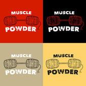 Muscle powder Bar of barrels Print for T-shirt set