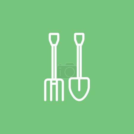 Illustration pour Pelle à fourche icône. Illustration vectorielle - image libre de droit