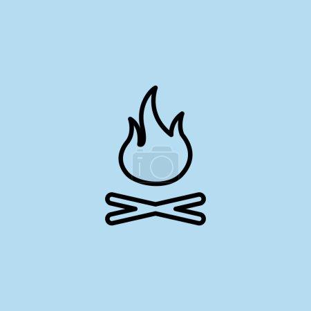 Illustration pour Feu de camp brûlant avec icône de bois de chauffage. illustration vectorielle - image libre de droit