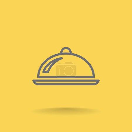 Illustration pour Icône de plateau cloche. symbole du restaurant. illustration vectorielle - image libre de droit