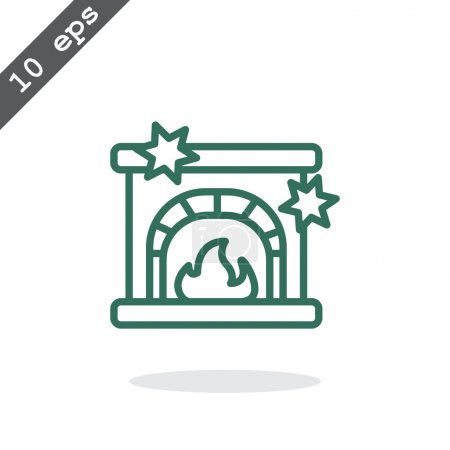 Christmas fireplace icon