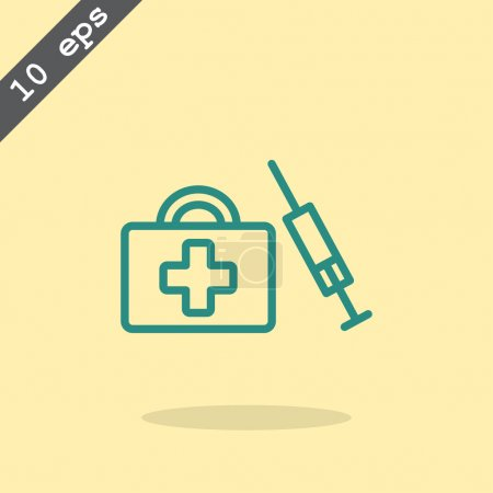 Illustration for Syringe and first aid kit icon. medical symbol. vector illustration - Royalty Free Image