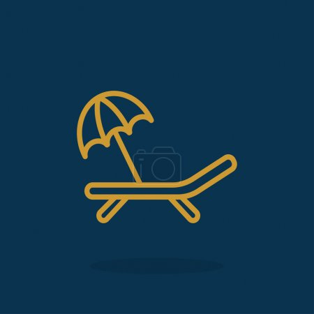 Deckchair with umbrella icon