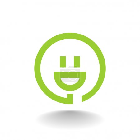 Illustration for Smiley and plug icon. vector illustration - Royalty Free Image