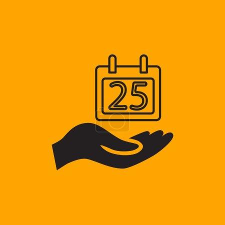 Hand hold calendar icon