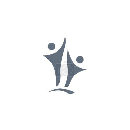 zwei Personen Silhouetten reichen Logo
