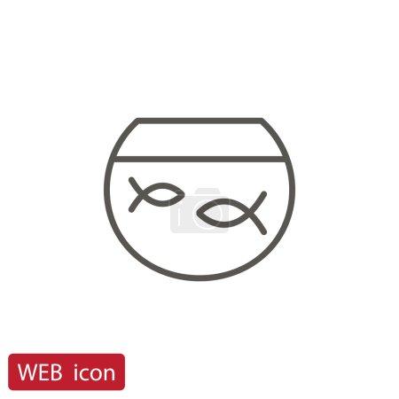 Fishes in aquarium icon. vector illustration...