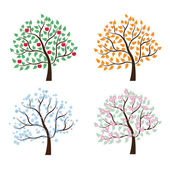 Satz von Bäumen vier Jahreszeiten