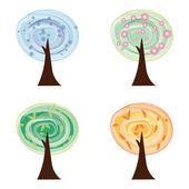 Sada watercollor stromů, čtyři roční období