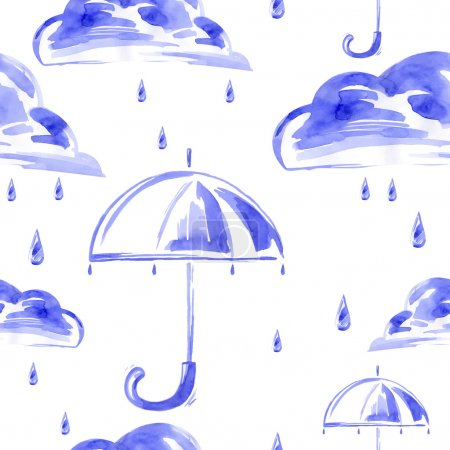 Watercolor seamless pattern with rain, cloud and umbrella.