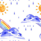 Watercolor seamless pattern with rainbow sun and rain Vector