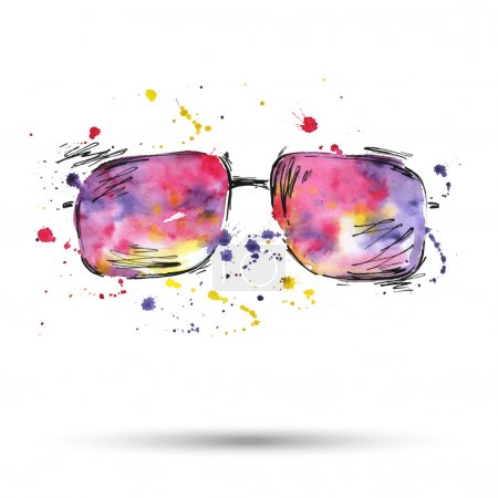 Watercolor illustration of sunglasses on a white background.