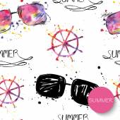 Watercolor seamless pattern with sunglasses and a steering wheel Summer abstract background Vector