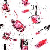 Akvarel bezešvé vzor s lakem na nehty