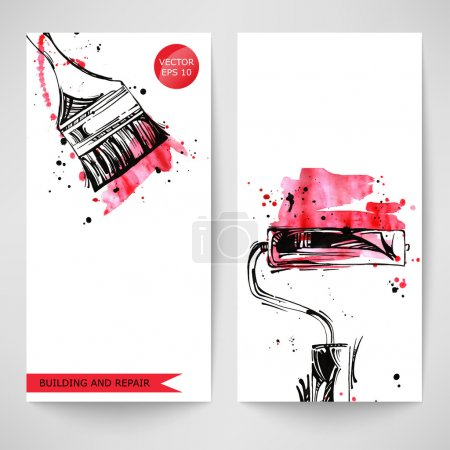 Illustration for Watercolor background with paint roller and brush. Construction - Royalty Free Image
