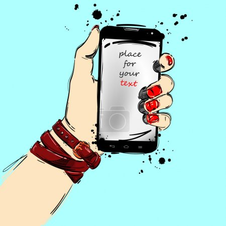 Mobile phone close-up in a female hand. Fashion il...