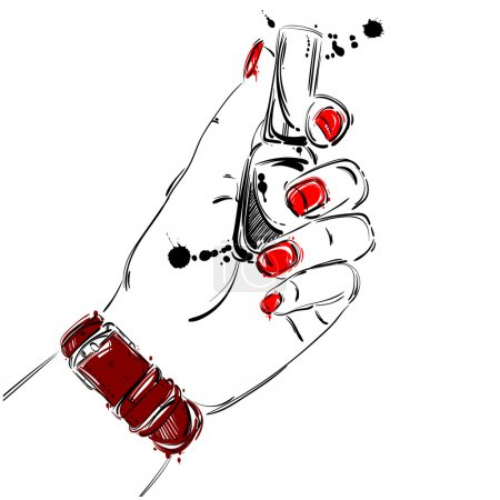 Vector illustration of nail polish in a female hand.