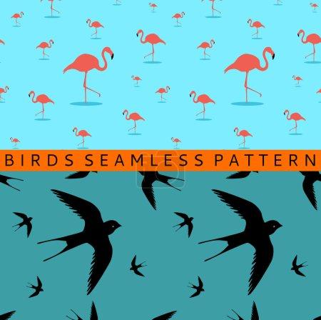 Flamingo swallow seamless pattern