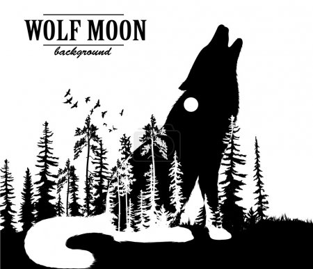 Illustration for Howling wolf double exposure illustration with moon and forest background - Royalty Free Image