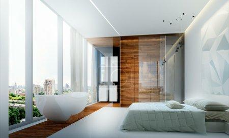 Photo pour Appartements de chambre lit intérieur dans le style du minimalisme - image libre de droit