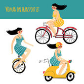 Vector illustration contains set of city traveler woman in three different situations