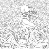 Pattern for coloring book Little girl alone Many roses