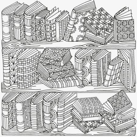 Illustration pour Livres artistiques, étagère, éléments décoratifs dessinés à la main, illustration vectorielle - image libre de droit