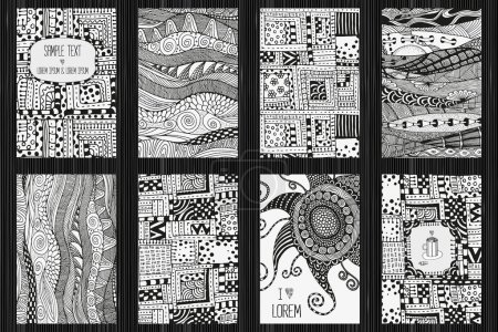 Set of artistically cards. Ethnic patterns.
