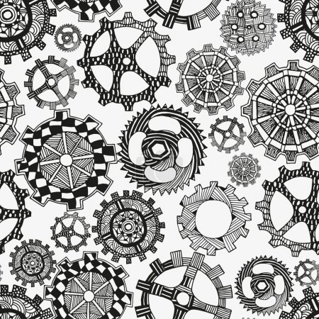 Seamless pattern artistically gears. Hand-drawn