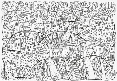 Illustration for Pattern for coloring book with artistically houses.Black and white pattern in vector. - Royalty Free Image