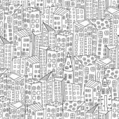 Seamless pattern with artistically city houses Magic City Street background Pattern for coloring book Black and white pattern in vector