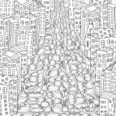 Pattern for coloring book with artistically city houses Magic City Street background Made by trace from sketch Ink pen Zentangle Black and white pattern in vector
